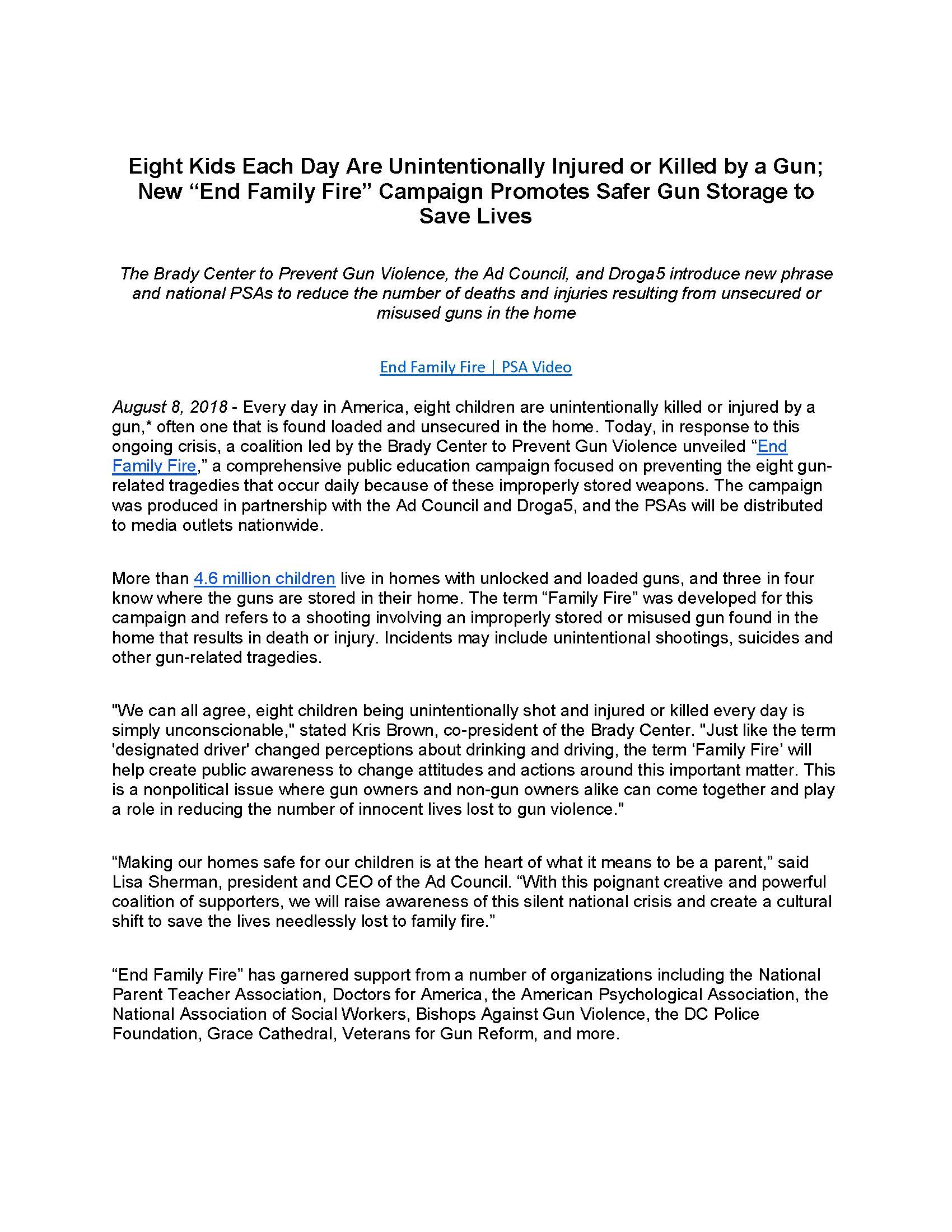 End Family Fire Press Release - Page 1